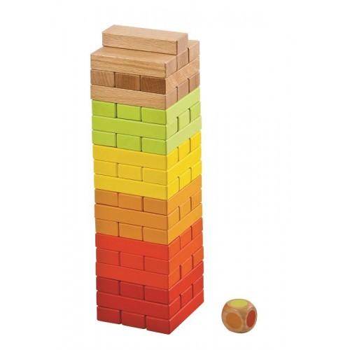Drewniana gra kolorowa JENGA z kostką  ! LELIN