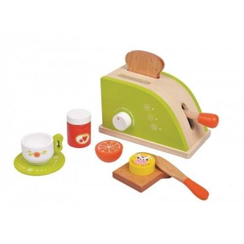 Drewniany zielony TOSTER zestaw śniadaniowy   ! LELIN