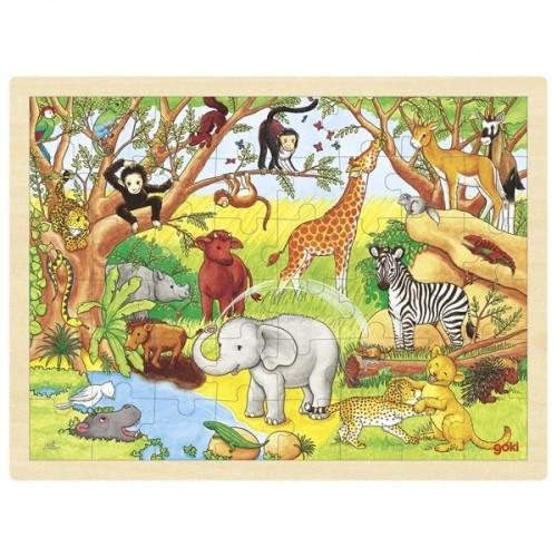 Drewniane puzzle AFRYKA 48 elem.! GOKI