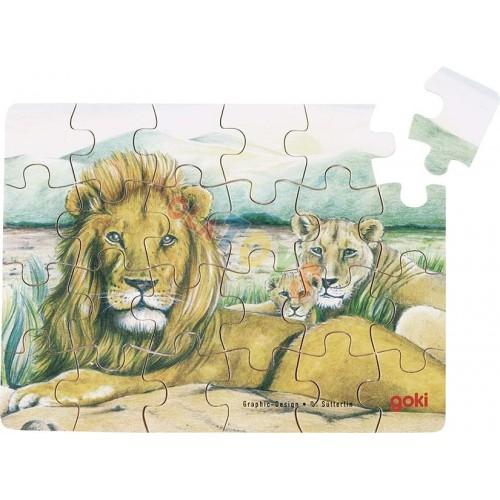 Drewniane mini-puzzle DZIKIE ZWIERZĘTA 24el ! GOKI