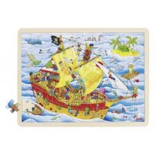 Drewniane puzzle STATEK PIRACKI 96 elem.!GOKI