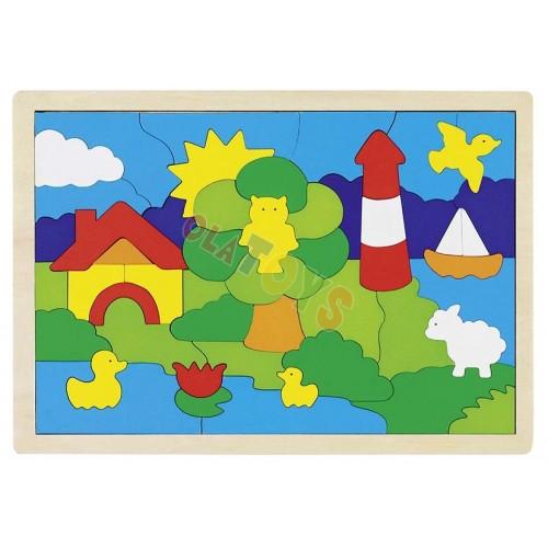 Drewniane puzzle - mozaika LATARNIA 52 elem. !GOKI (