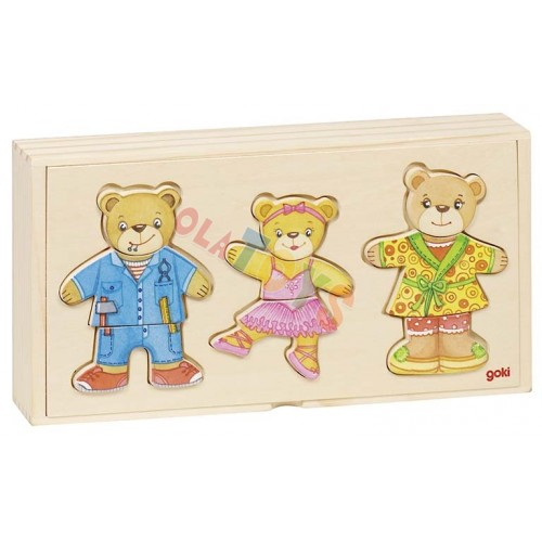 Drewniana układanka-ubieranka MISIE rodzinka  ! GOKI