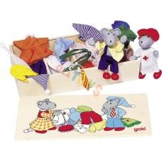 Drewniane MYSZKI z ubrankami w skrzyneczce !