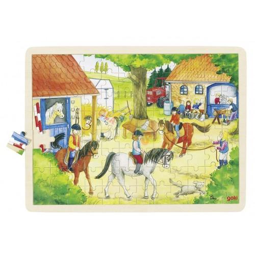 Drewniane puzzle KLUB JEŹDIECKI 96 elem.!GOKI