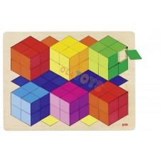 Drewniane puzzle - mozaika 3D SZEŚCIANY 86 elem . !GOKI